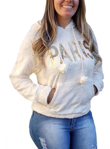 blusa de frio paris feminina capuz pelinho lantejoula invern