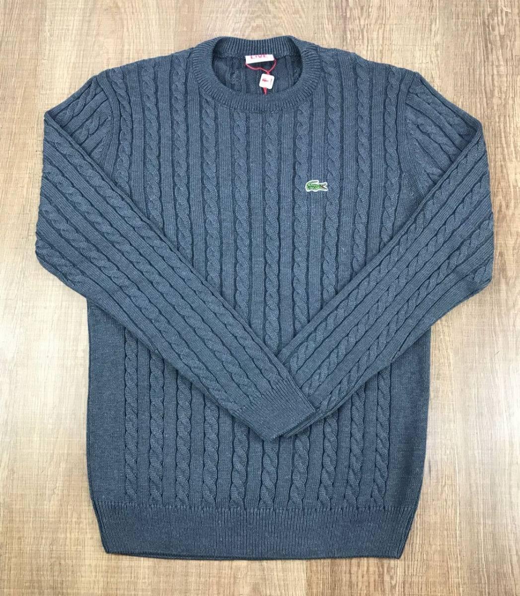 blusa de frio sueter masculino lacoste live original algodão. Carregando  zoom. 895faa3843