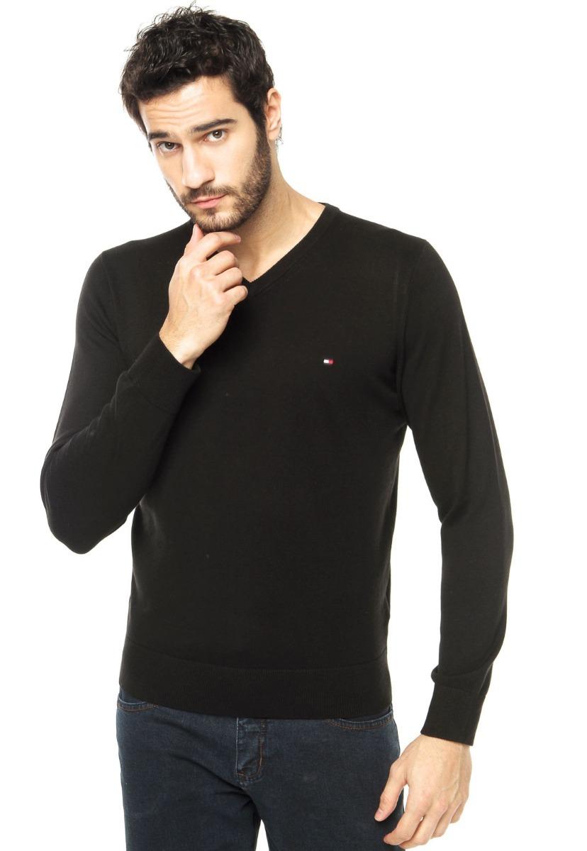 150962d531 blusa de frio suéter tommy hilfiger original tricot preto. Carregando zoom.