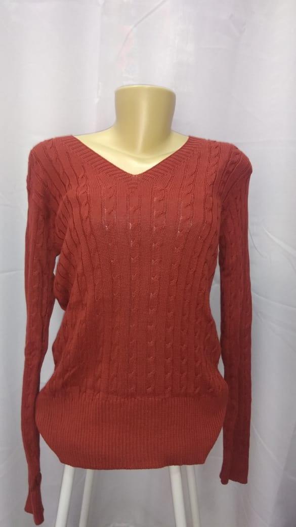 5de2db4b4a blusa de frio suéter tricot basico decote v liso inverno2019. Carregando  zoom.