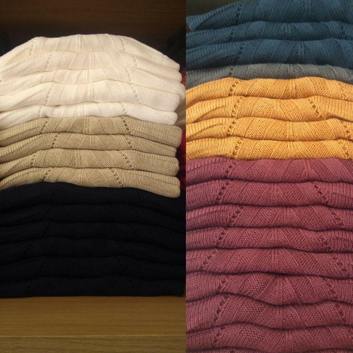 beb3fd2988 blusa de frio tricot feminino gola alta ombro de fora. Carregando zoom.