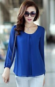 3ff45b6b686a Blusa De Gasa Azul Elegante Talla M Importada En Stock