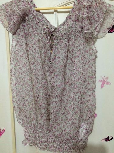 blusa de gasa bohemia estampado flores talla l nueva!