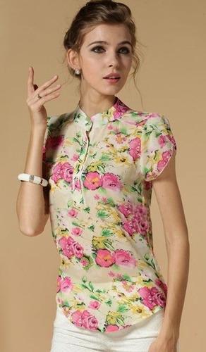 blusa de gasa floral tallas s y m importada en stock elle851