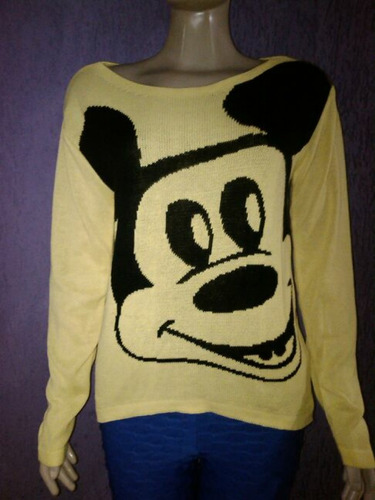 blusa de lã mickey moda inverno
