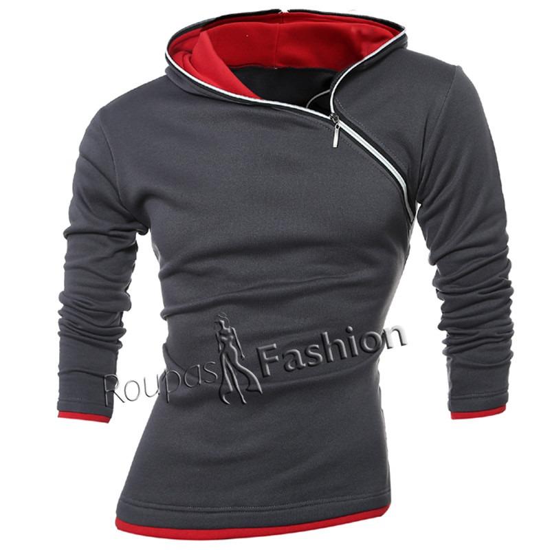 5452aa247 blusa de moletom masculina com zíper e capuz manga longa. Carregando zoom.