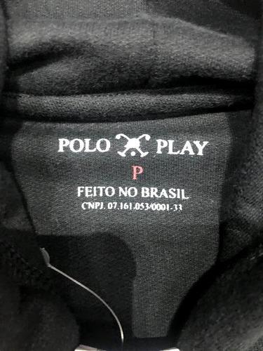 blusa de moletom polo play com capuz