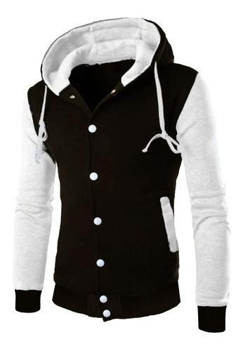 blusa de moletom school - casaco college branco/preto