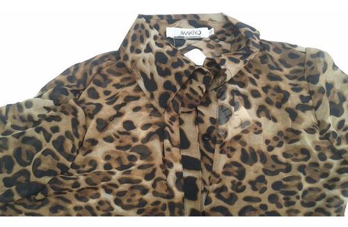blusa de mujer estampada leopardo talla l sexy elegante