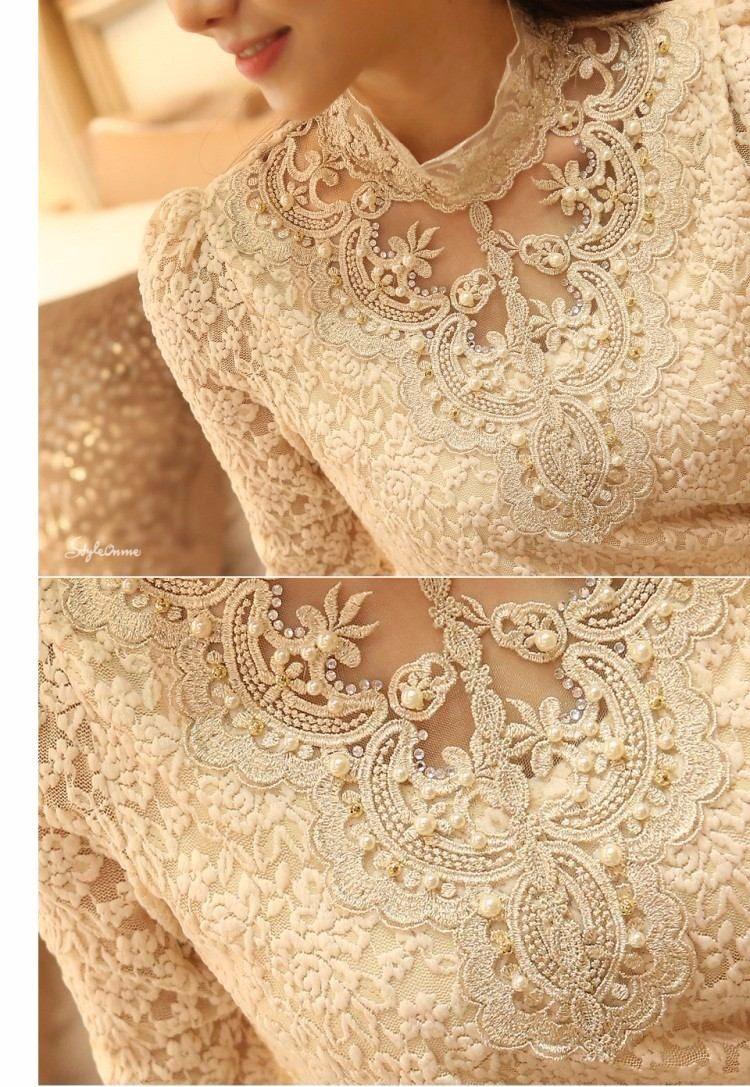 blusa de renda bordada dourado e p rolas camisa moda
