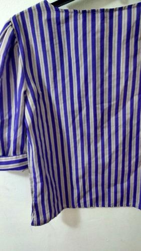 blusa de seda saten a rayas importada talle m