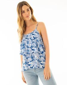 eb47c5a9fb9d Blusa De Tiras Gef Para Mujer Azul Ropa Mujer Blusas Dama