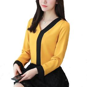Blusa De Vestir Amarilla Decorada Elegante Para Dama