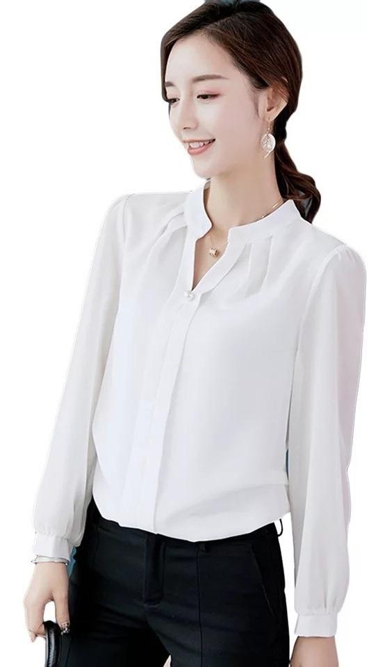 Blusa De Vestir Con Decorado De Perla Falsa Para Dama