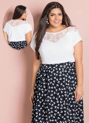 d93f04d3f Blusa Detalhe Renda Branca Plus Size - R$ 59,90 em Mercado Livre