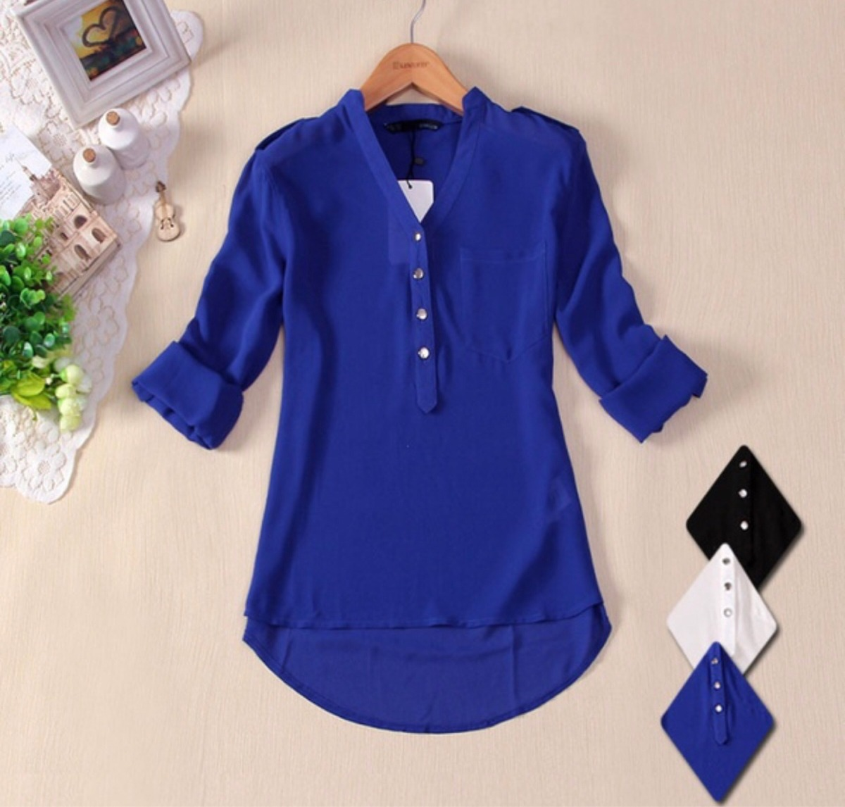 Royal Blue Blouse Plus Size
