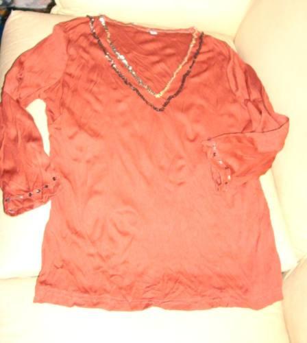blusa elegante color ladrillo con lentejuelas mirala!!