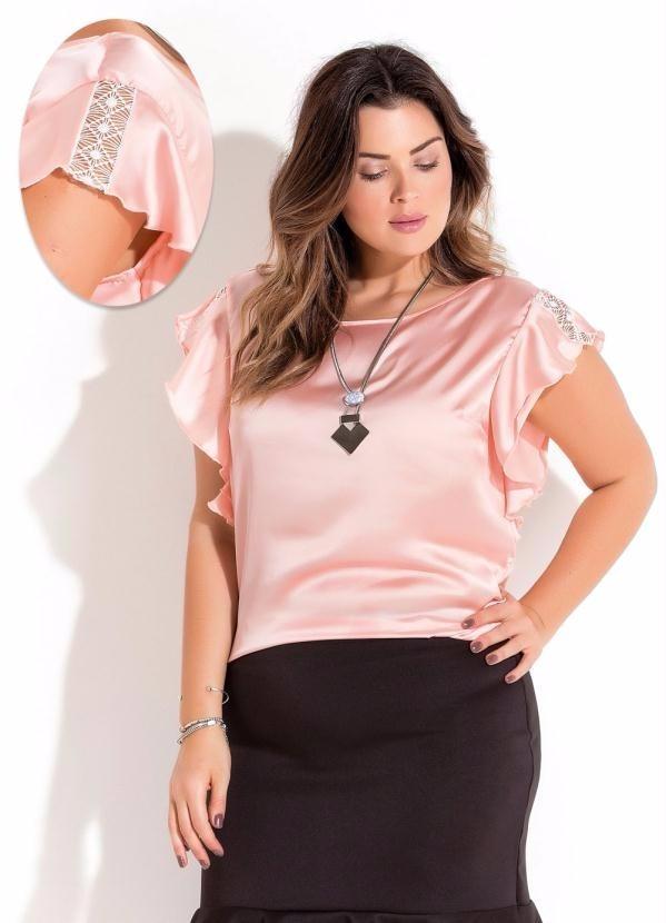 902f5600f5 blusa em cetim rosa plus size. Carregando zoom.