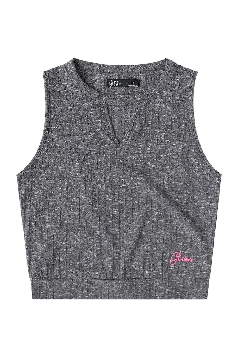 cae35bd03c Blusa Em Malha Canelada Juvenil Gloss - R  43