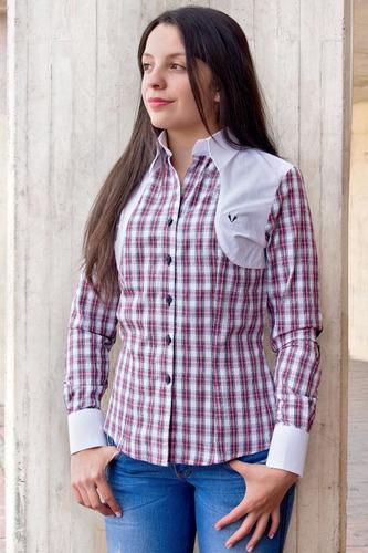 blusa en cuadros leñadores rojo y blanco