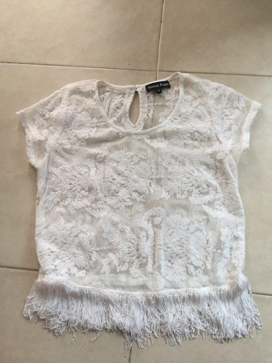 Blusa Encaje Rosas Blanca Transparente Barbas M Flecos - $ 199.00 en ...