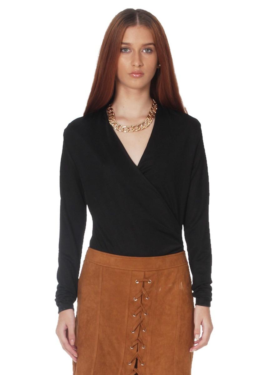 ed706e31286b4 blusa escote cruzado de mujer aishop aw171-1102-930 negro. Cargando zoom.