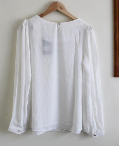 blusa escote rosas max c blanco crema t40 gasa