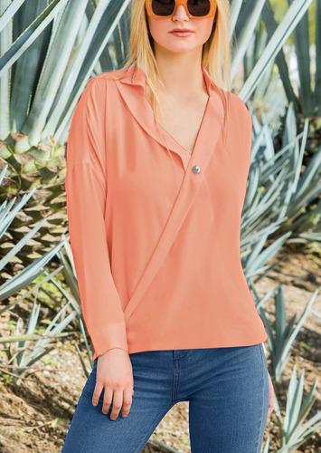 blusa  escote  v  naranja 1406139