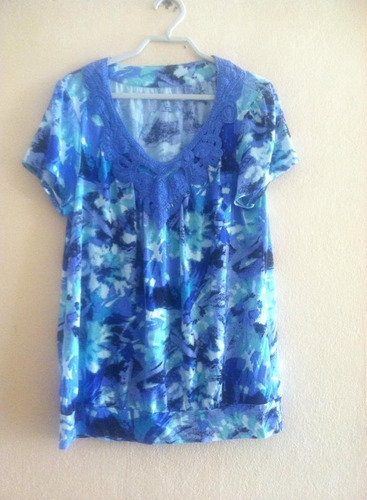 blusa estampada aplicaciones bordadas style & co talla l