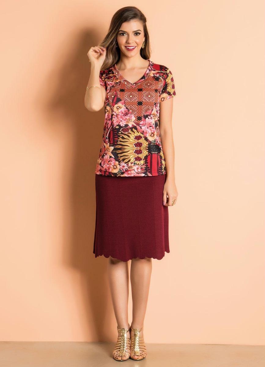 41717f9ed9903 blusa estampada com decote v moda evangélica. Carregando zoom.