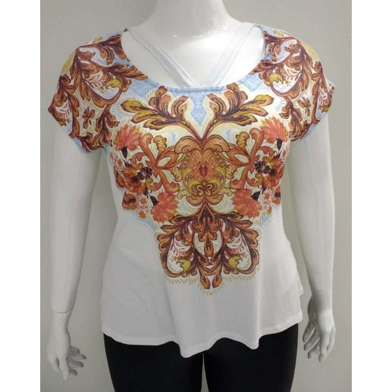 24d273376 Blusa Estampada Lisamour 20377 - Branco - Delabela Calçados - R$ 75,58 em  Mercado Livre