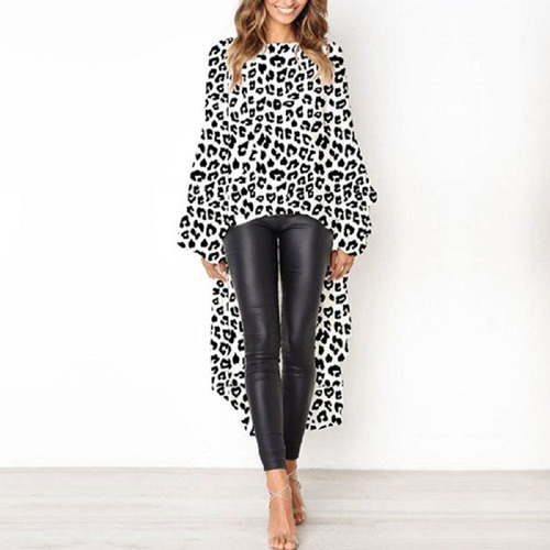 blusa estilo vestido asimétrica mangas largas leopardo
