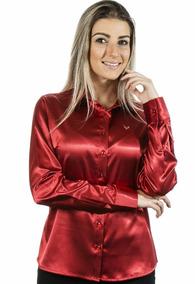 8599558358 Camisa Feminina Manga Longa Cetim - Camisa Manga Longa Feminino no ...