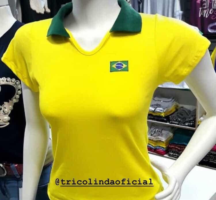 8a5d36ca5a Blusa Feminina Baby Look Polo Amarela Brasil Copa 2018 Moda - R  28 ...