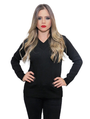 blusa feminina básica sueter gola v de tricot