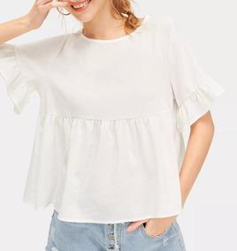 d057b760c Blusa Bata Crepe De Seda Babado Blusas Feminino - Camisetas e Blusas ...