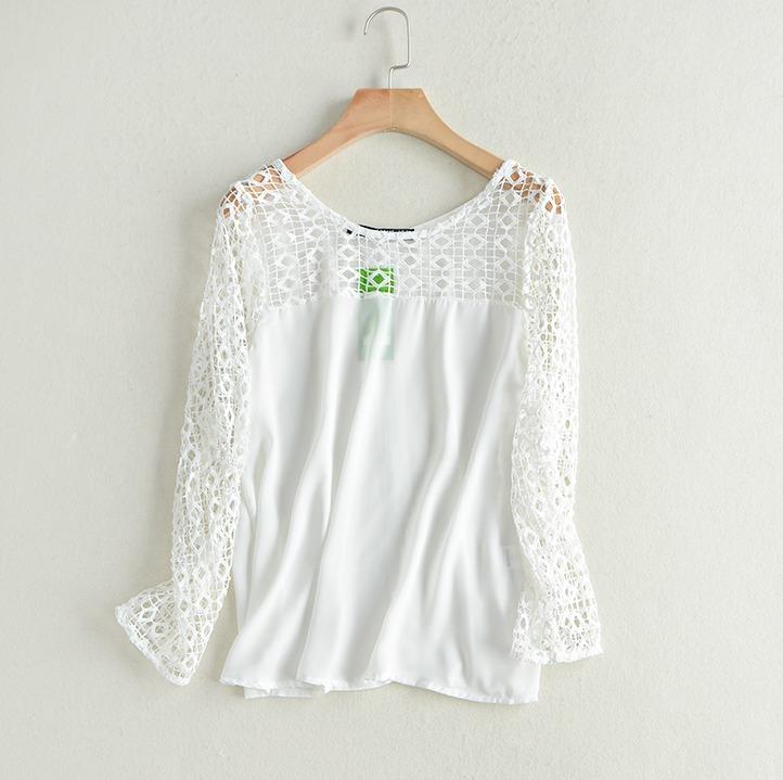 a862306a43 Blusa Feminina Branca Renda Chiffon Crepe Importada Pronta - R  48 ...