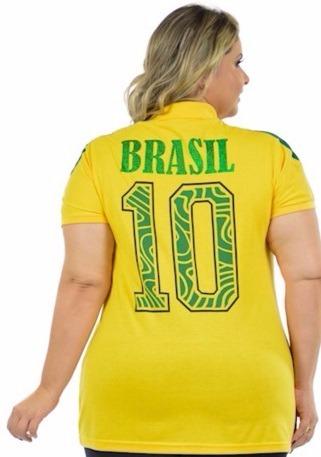 18f933867 Blusa Feminina Brasil Copa Plus Size Malha Fria Decote V - R  59