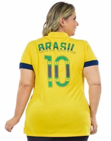 f081b3612 Blusa Feminina Brasil Copa Plus Size Malha Fria Gola Esporte - R  59 ...