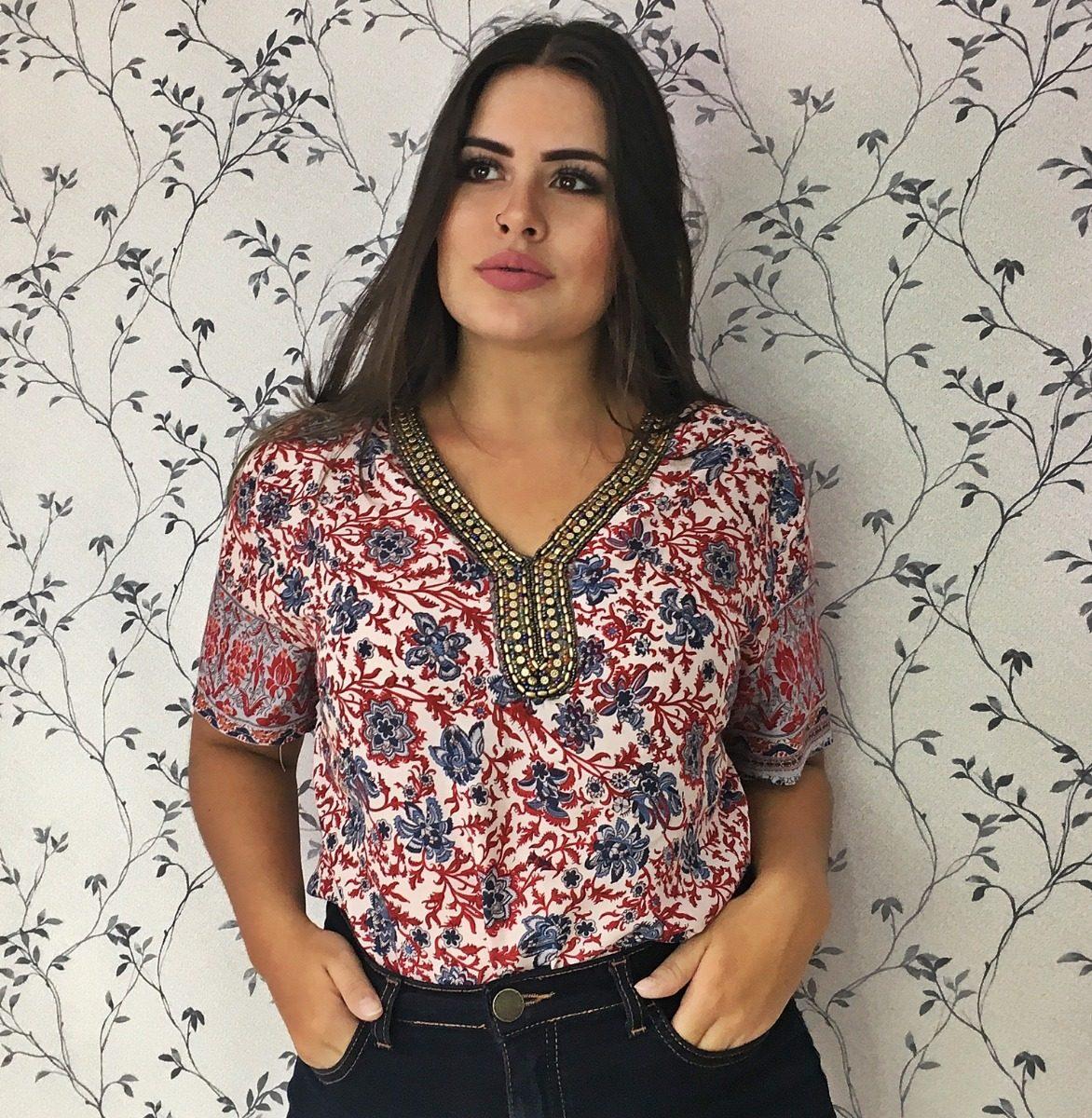 13a111c9af blusa feminina camisa indiana aplicação moda evangelica. Carregando zoom.