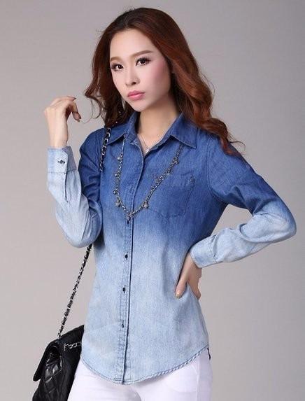 3b3d992088 Blusa Feminina Camisa Jeans Degrade Oferta - R  55