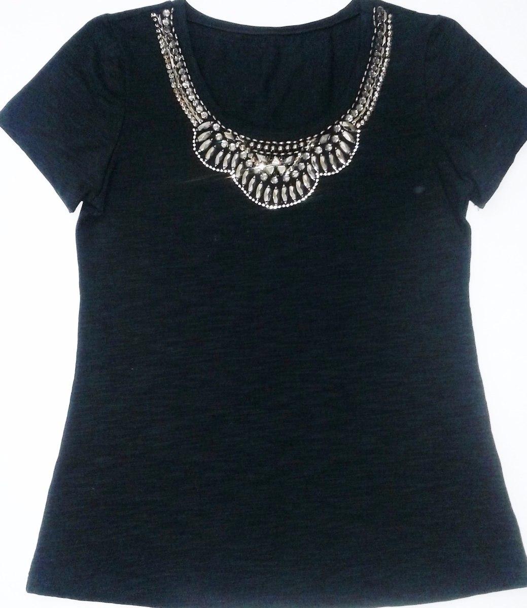 df8eceb93c56 Blusa Feminina Camiseta Bordada Pedraria Tipo Maxicolar Vb06