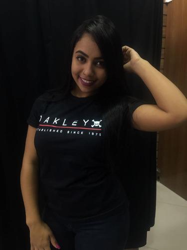 blusa feminina camiseta oakley manga curta lançamento oferta