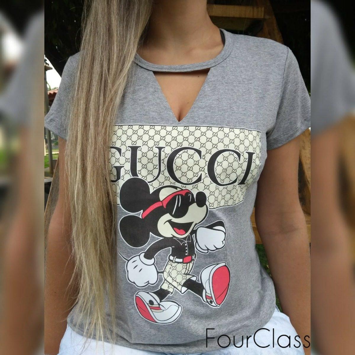 1558768a1d Blusa Feminina Camiseta T-shirt Estampa Mickey Blusinha Moda - R  46 ...