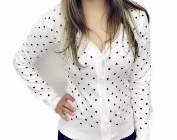 09df5cc9a0 Blusa Feminina Cardigan Suéter Lã Trico Coração - R  42