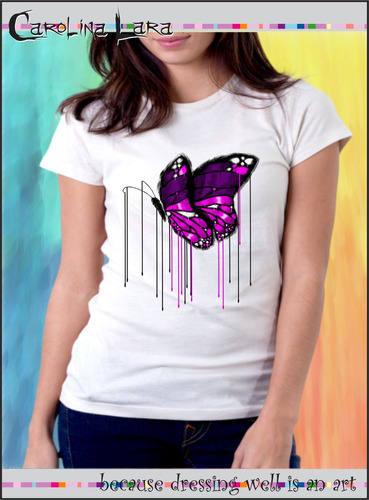 blusa feminina carolina lara  - camiseta borboleta