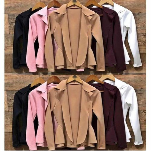 blusa feminina casaco casaquinho neoprene cardgã suéter b853