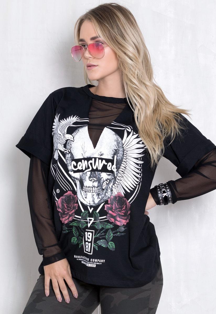 15aad2770 Blusa Feminina Censured Rock Code Preta - R$ 139,90 em Mercado Livre