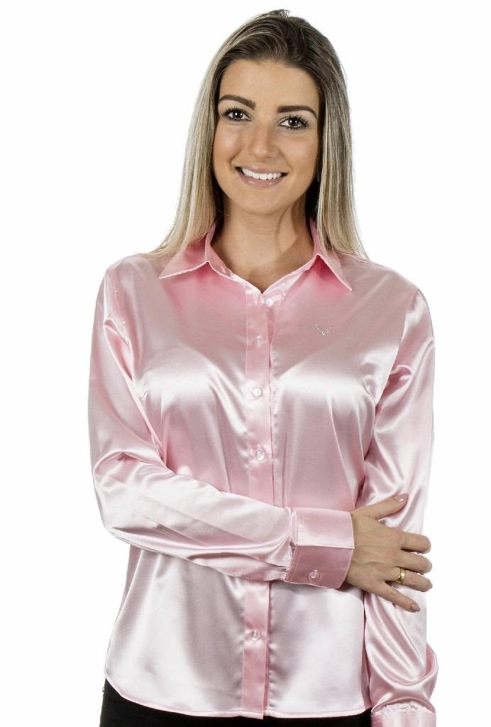 Blusa Feminina Cetim C  Elastano Lola - Camisete Rosa Claro - R  124 ... 6273075202c31