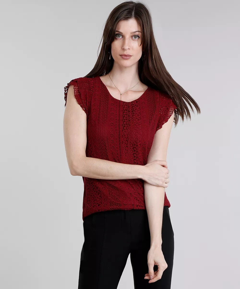 blusa feminina com renda manga curta decote redondo vinho. Carregando zoom. ec3f2732a46ae